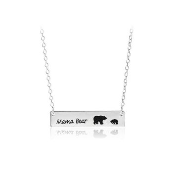 Cute Family Love Mama and Baby Bear Necklace Bar Necklace Mother's Day Gift Swee