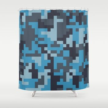 Blue and Grey Pixel Camo pattern Shower Curtain by PRODUCTPICS