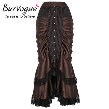 Burvogue Women Steampunk Long Maxi Skirt Victorian Vintage Sexy Ruffled Gothic Long Skirts S-4XL