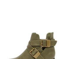 Bronco 11 Military Green Cutout Ankle Boots