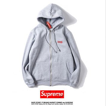 SUPREME embroidered small standard tied rope hooded cardigan zipper patch pocket long-sleeved straight sweater Gray
