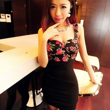 Women Fashion Sexy Small Floral Slim Small Tape Dress Ideal For Xmas Gifts (One Size) = 1956659460