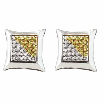 Sterling Silver Womens Round Yellow Color Enhanced Diamond Square Kite Cluster Earrings 1/8 Cttw