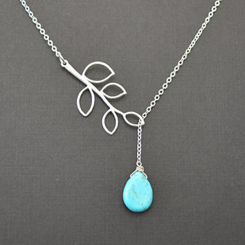 SALE Turquoise teardrop and branch neckalce by LilliDolli on Etsy