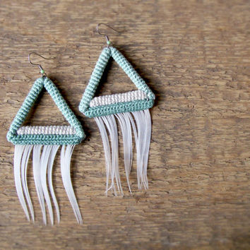 Mint Triangle Earrings with White Feathers