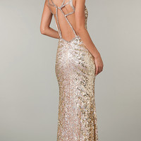 Full Length Open Back Sequin Dress