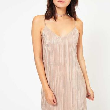 Gold Shimmer Plisse Slip Dress - Lounge Luxe - Clothing