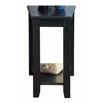 Wood Wedged Chair Side Table With a Bottom Shelf, Black