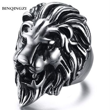 BINQINGZI 2018 Dropshipping Vintage zinc alloy Lion head Ring men Biker Punk ring Graduation anel Fashion Jewelry