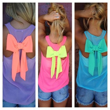 Bow Back Chiffon Tank Top