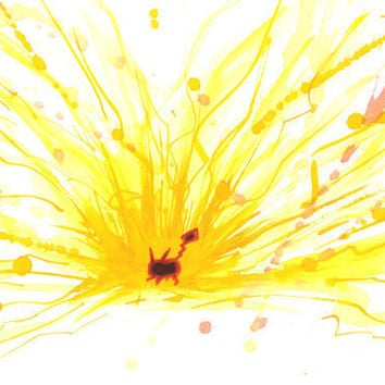 Pikachu: Pokemon Art Print, Watercolor Thunder Attack -- Limited Edition Giclee