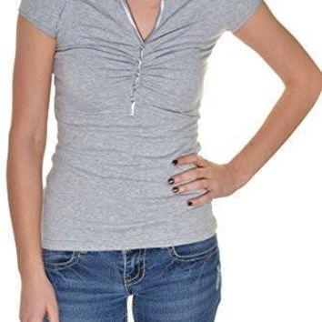 Sport V-Neck Ruched Snap Polo Shirt (Heather Gray)
