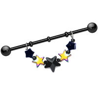 Handcrafted Black Anodized Glittering Stars Dangle Industrial Barbell 38mm