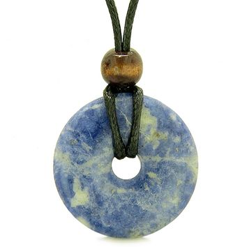 Amulet Magic Large Coin Shaped Donut Positive Powers Sodalite Healing Lucky Charm Necklace