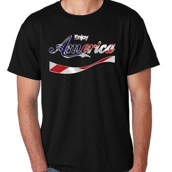 Men's T Shirt Enjoy America 4th Of July Top Love USA Party