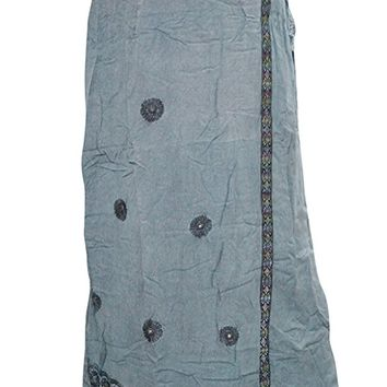 Mogul Interior Women's Skirt Embroidered Broomstick Charcoal Grey Rayon Maxi S