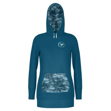 Women's Find Your Coast Palm Camo Long Body Pullover Hoodie Dress
