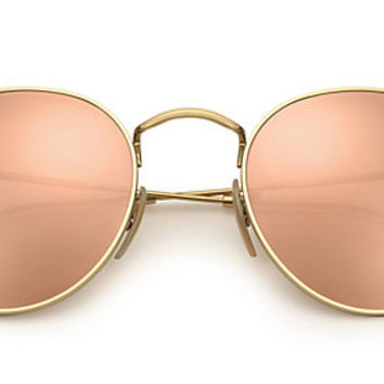 Ray-Ban RB3447 112/Z2 50-21 ROUND FLASH LENSES Gold sunglasses | Official Online Store US
