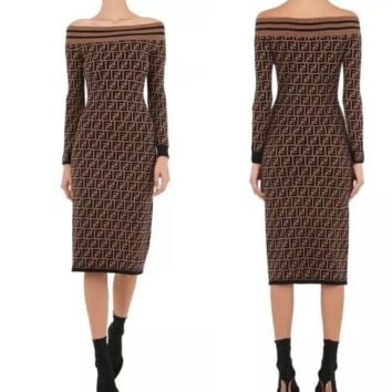 Fendi Women Long Sleeve Off Shoulder dress