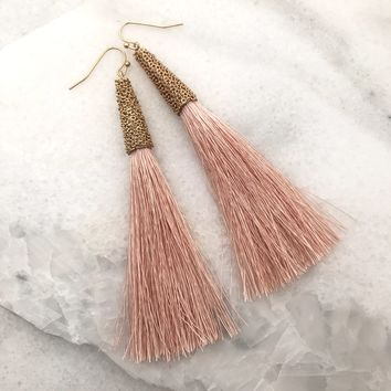 Tassel Long Earrings - Blush Pink