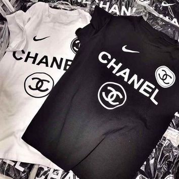 Chanel X Nike Fashion Women Men Casual Print T-Shirt Top I