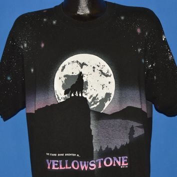 90s Yellowstone National Park Howling Wolf t-shirt Extra Large