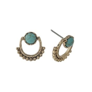 Dainty Gold tone Turquoise Earrings
