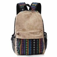 CrazyPomelo Vintage Tribe Pattern Colorful Wool Knitting Canvas Backpack (Beige)