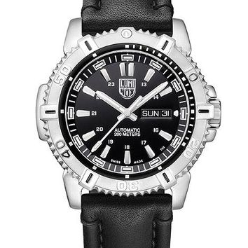Luminox Mens Modern Mariner Automatic Watch - Black Dial - Leather Strap - Steel