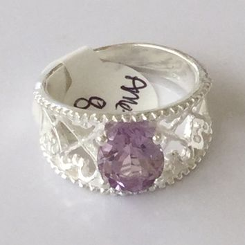 Amethyst sterling silver ring size 8