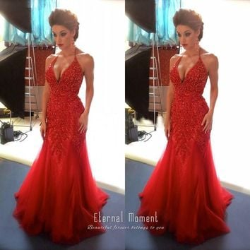 Luxurious Red Mermaid Prom Dress Beaded Long Sexy Plus Size Pageant Party Gowns Off the Shoulder Prom Dress 2016