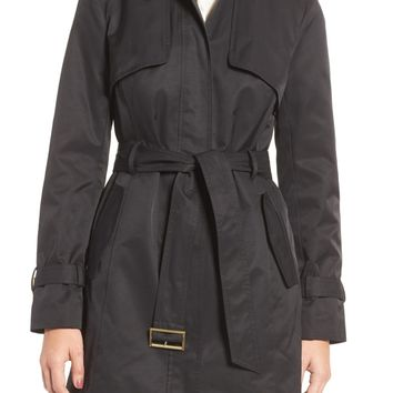 Cole Haan | Faux Leather Trim Trench Coat | Nordstrom Rack