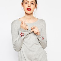 ASOS Jumper With Star Cuff Patch at asos.com
