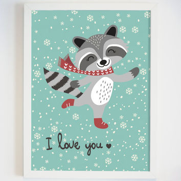 Raccoon Art Print for Kids Room - Cute Animal Art Prints for Baby Nursery - Ped Office Decor - Cute Animal Wall Decor - Raccoon Picture