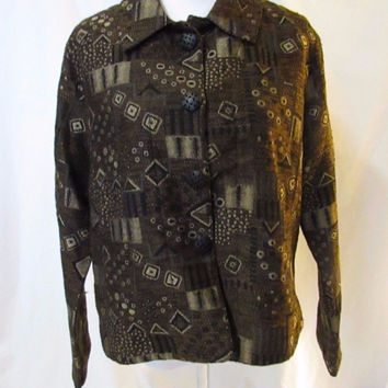 Chico's Tapestry Design Three Button Jacket