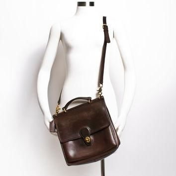 Vintage COACH Purse - 80s Brown Leather Coach Willis Adjustable Cross Body Satchel Bag