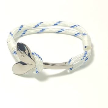 Blue Stripe Nautical Whale Tail Bracelet Stainless Steel 165