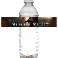 Wakanda Water Water Bottle Labels, Black Panther, Black Panther Water Bottle Labels, Black Panther Theme, Black Panther Movie, Marvel Comics
