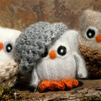 Adopt all three Baby Owls angora eco wool felt owls by woolcrazy