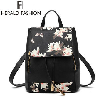 New Design PU Leather Women Backpack School Bags Students Backpacks Ladies Women Travel Bags Package 2016 Herald Fashion Mochila