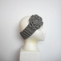Crochet Winter Ear Warmer Headband in Grey with Large Rose, ready to ship.