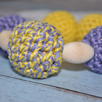 ON SALE Nursing/Teething Necklace and Teething Ring- Purple, Yellow, and White - Eco Baby Teething- Eco Mom Jewelry
