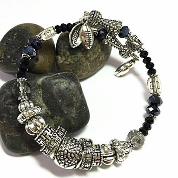 Silver Wrap Bracelet - Football Charm Bracelet - Silver and Black Bracelet - Memory Wire Bracelet - Black & Silver Bangle  - TDC750