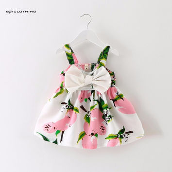 2017 New Summer Infant Baby Girl Dress Kids Cotton Fruit Printed Dress Bow Princess Dress Birthday Dress Cloth Vestido Infantil