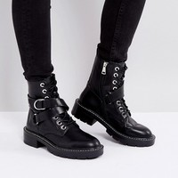 Pull&Bear Buckle And Ring Detail Work Boot at asos.com