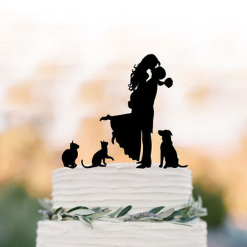 Family Wedding Cake topper with dog, Cake Toppers with two cats, couple  silhouette, cake toppers bride and groom kissin silhouette
