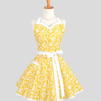 Sweetheart Retro Apron - Sexy Flirty Womens Apron in Sunny Yellow Damask Cute Full Kitchen Apron