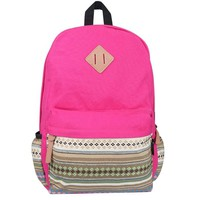 Plambag Vintage Bohemia Unisex Causal Lightweight Canvas Backpacks Schoolbag One Size Rose