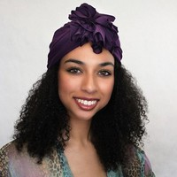 Chemo Hat Flower Turban |Plum Fashion Turban