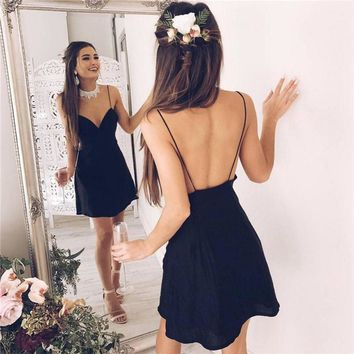Women's Fashion Hot Sale Summer Spaghetti Strap V-neck Backless One Piece Dress [10802569347]
